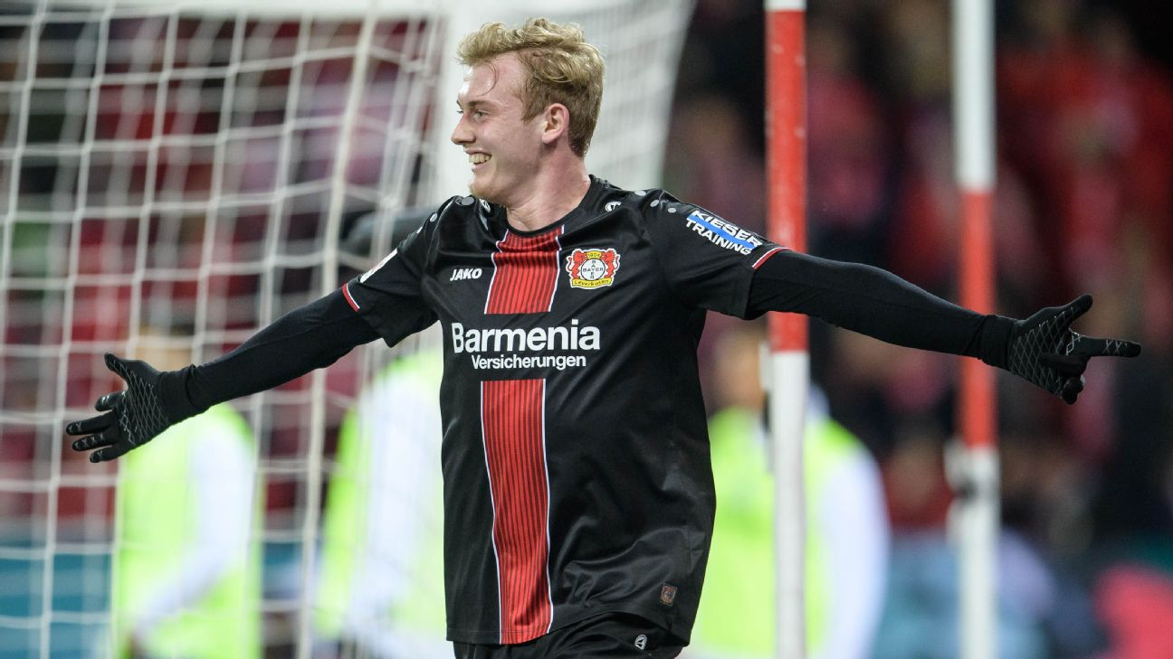 Julian Brandt celebrates after scoring in Bayer Leverkusen's Bundesliga win over Mainz.