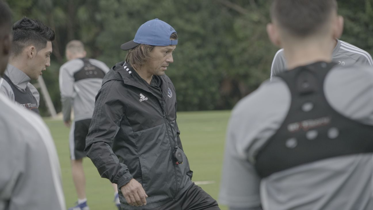 Matias Almeyda looks on during the San Jose Earthquakes' preseason training camp in Cancun, Mexico.