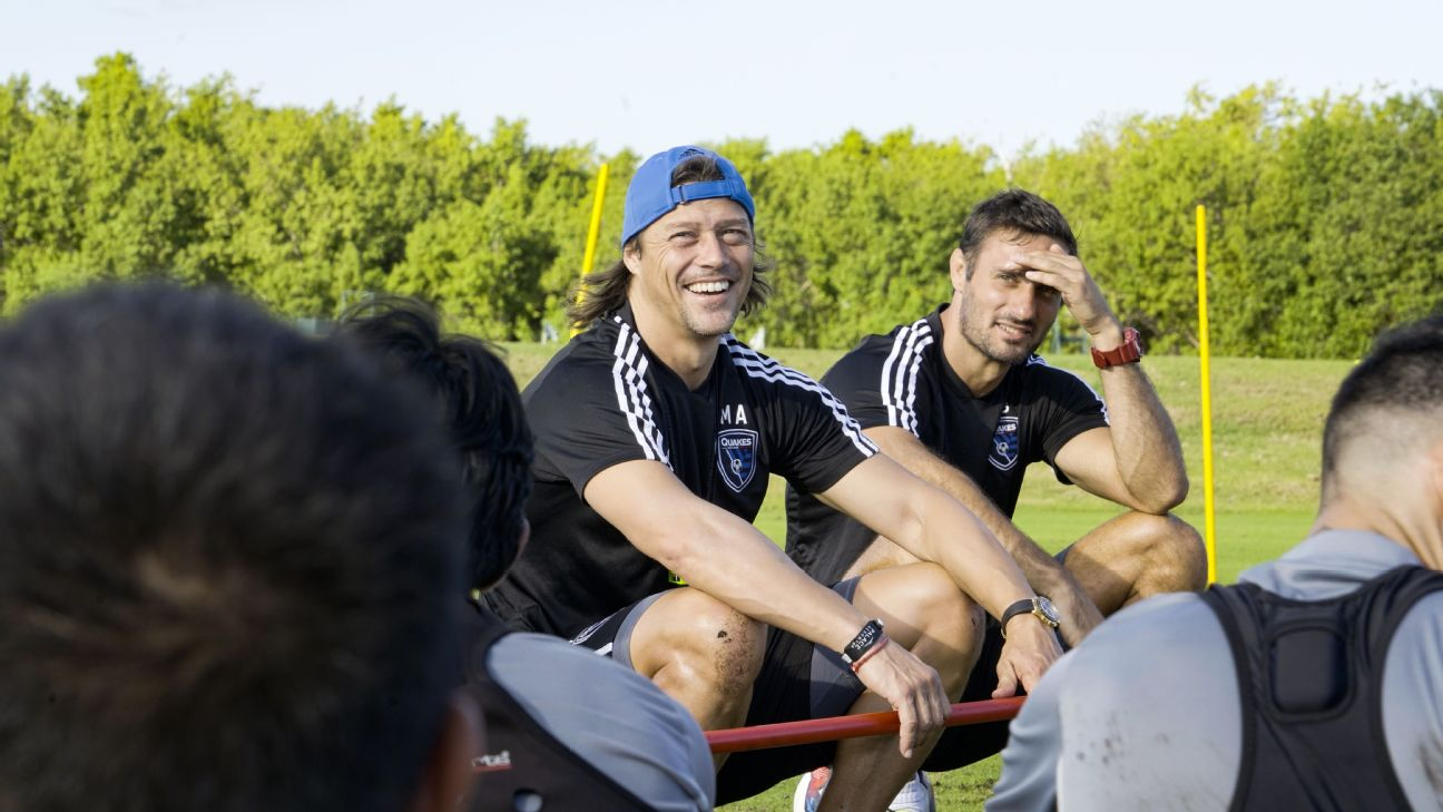Matias Almeyda speaks to his San Jose Earthquakes players during their preseason training camp in Cancun, Mexico.
