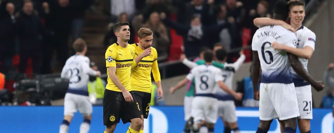 Christian Pulisic of Borussia Dortmund dejected after Jan Vertonghen of Tottenham scores a goal
