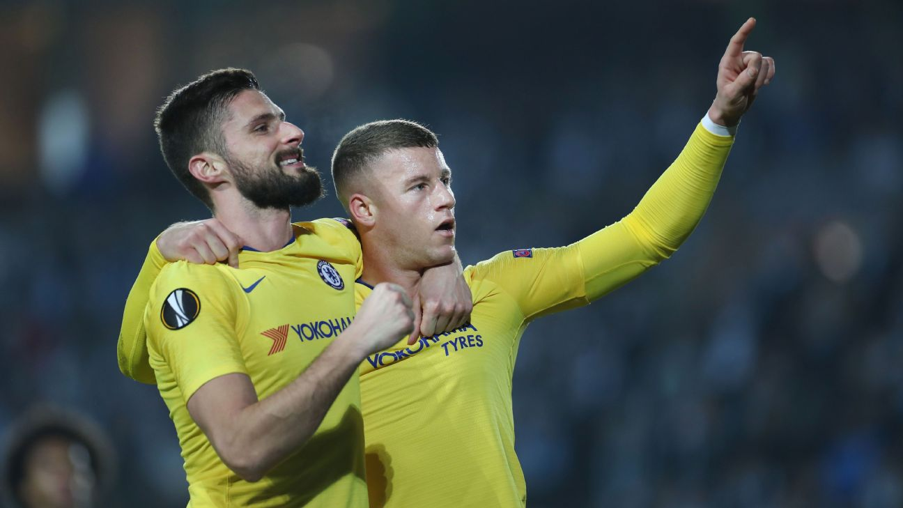 Olivier Giroud, left, and Ross Barkley celebrate after scoring a goal against Malmo in the Europa League.
