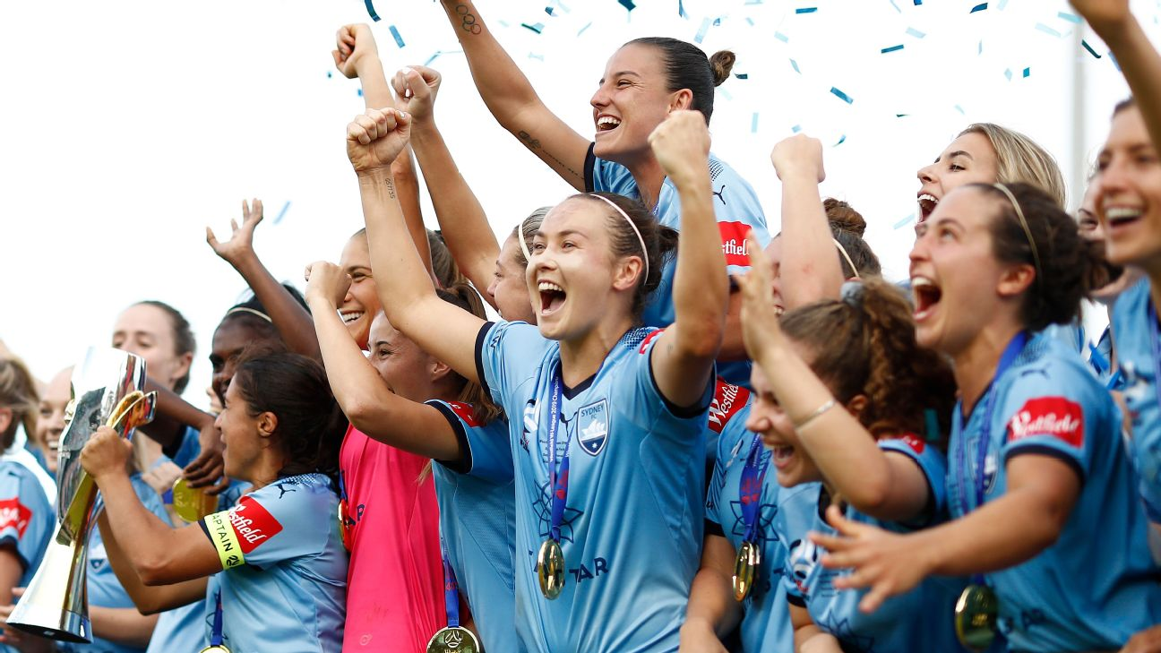 Sydney FC celebrate after winning the W-League title with a Grand Final win over Perth Glory.