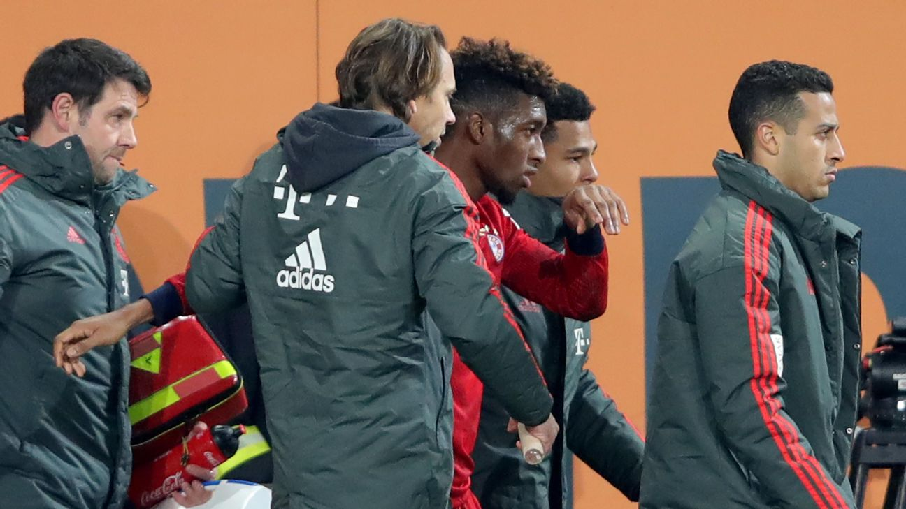 Kingsley Coman was injured during Bayern Munichs' Bundesliga win against Augsburg.