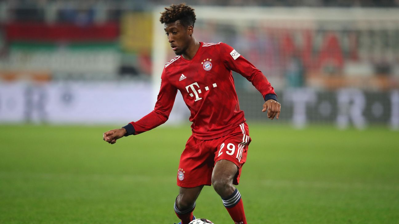 Kingsley Coman controls the ball during Bayern Munich's Bundesliga win over Augsburg.