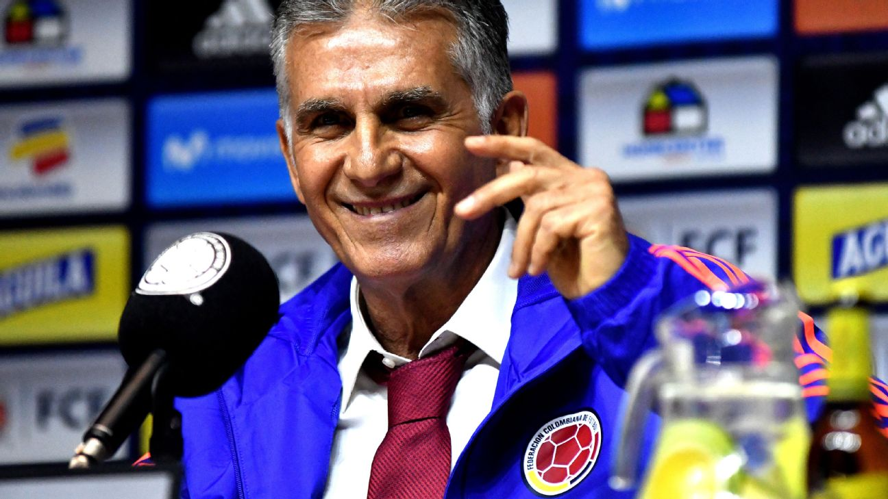 New Colombia manager Carlos Queiroz will have his eyes on James Rodriguez's performance on Tuesday.