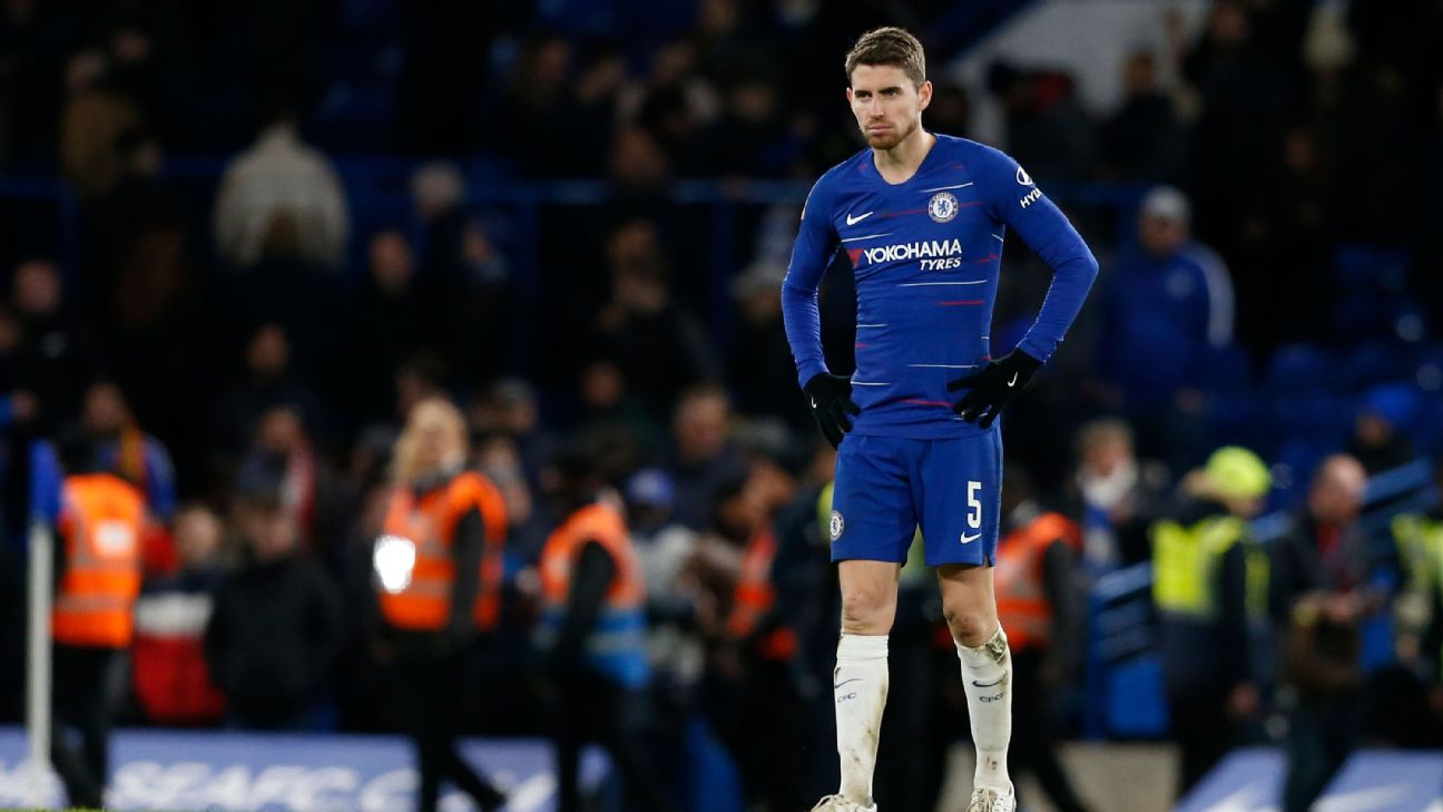 Jorginho looks on during Chelsea's FA Cup loss to Manchester United.