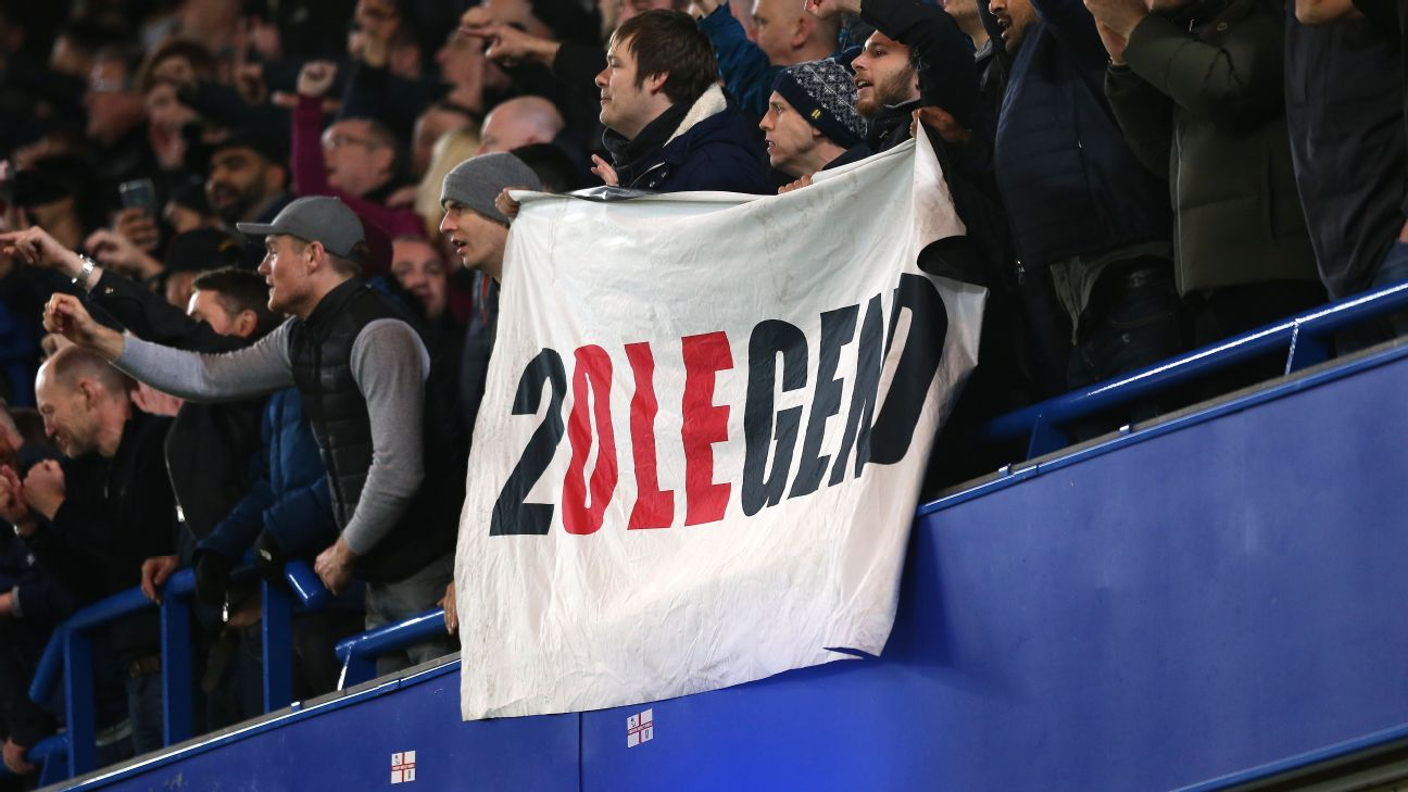 Manchester United fans support their side in the FA Cup win at Chelsea.