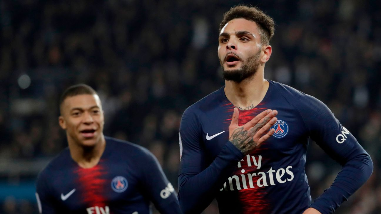 Layvin Kurzawa celebrates after scoring in Paris Saint-Germain's Ligue 1 win over Montpellier.