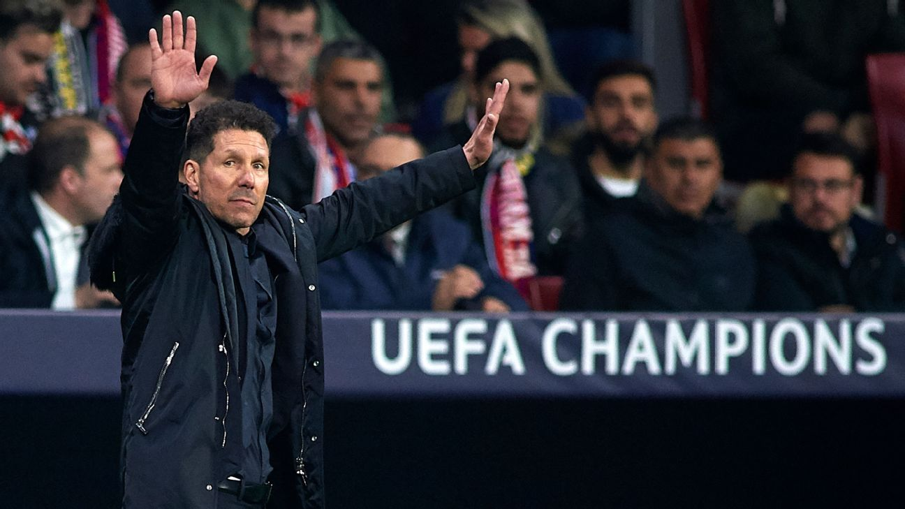 Atletico Madrid manager Diego Simeone celebrated Jose Gimenez's opener by putting his hands on his genitals