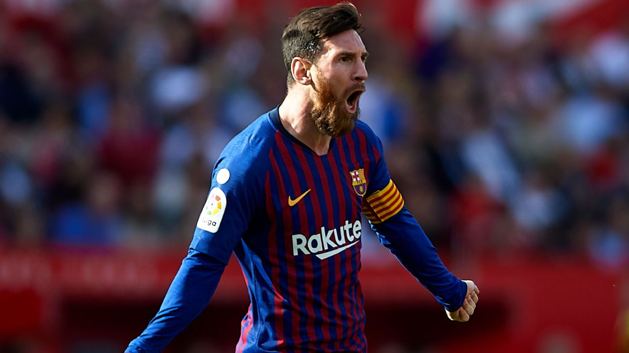 Lionel Messi celebrates a goal as he notches the 50th hat-trick of his career.