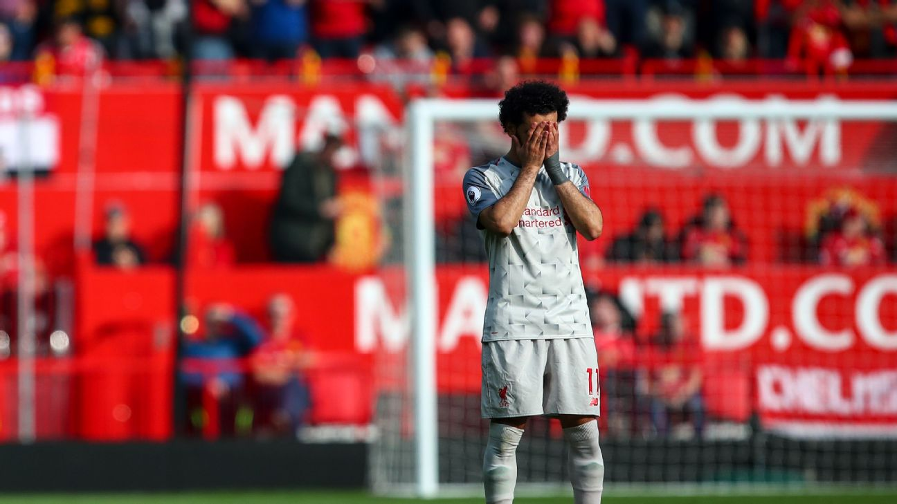 It was a frustrating afternoon for Mohamed Salah, as the Egyptian was stifled by Man United's defence.