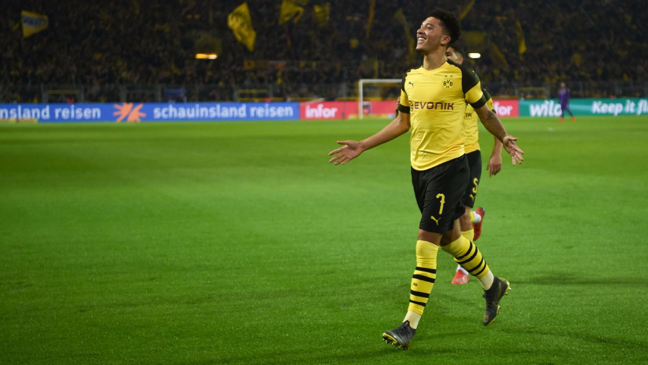 Jadon Sancho continued his fine season against Bayer Leverkusen.