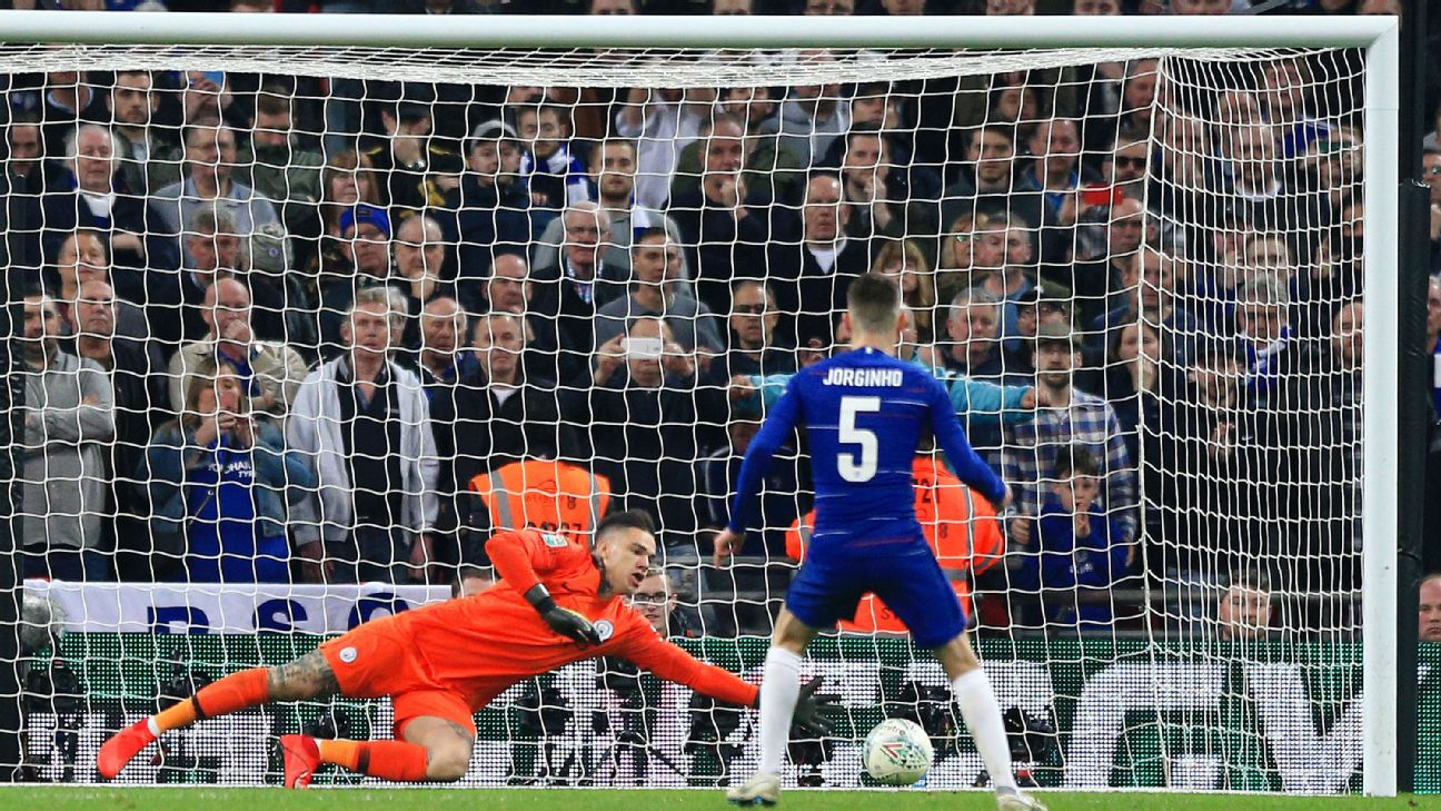 Ederson's save on Jorginho to open the penalty shootout ended up proving decisive as Man City won the Caraba Cup.