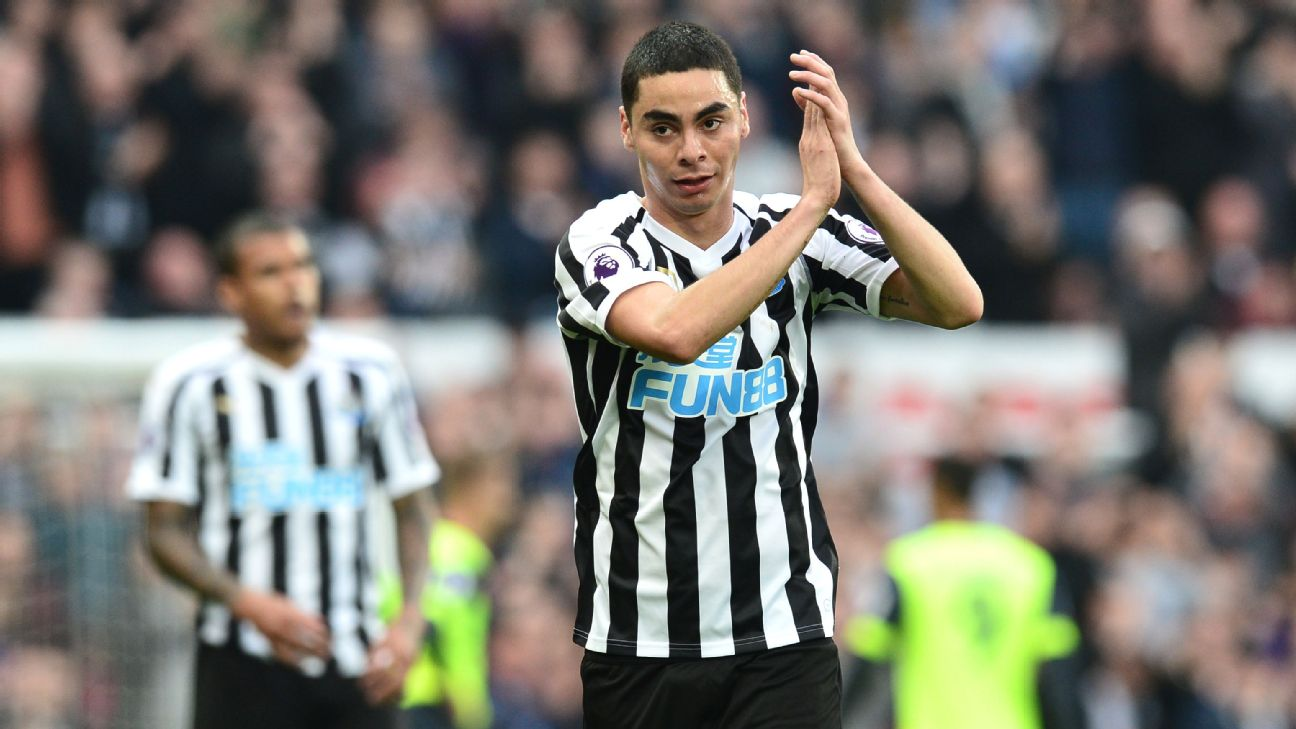 Miguel Almiron dazzled in his first Newcastle start, creating a plethora of chances and drawing a red card on Huddersfield's Tommy Smith.