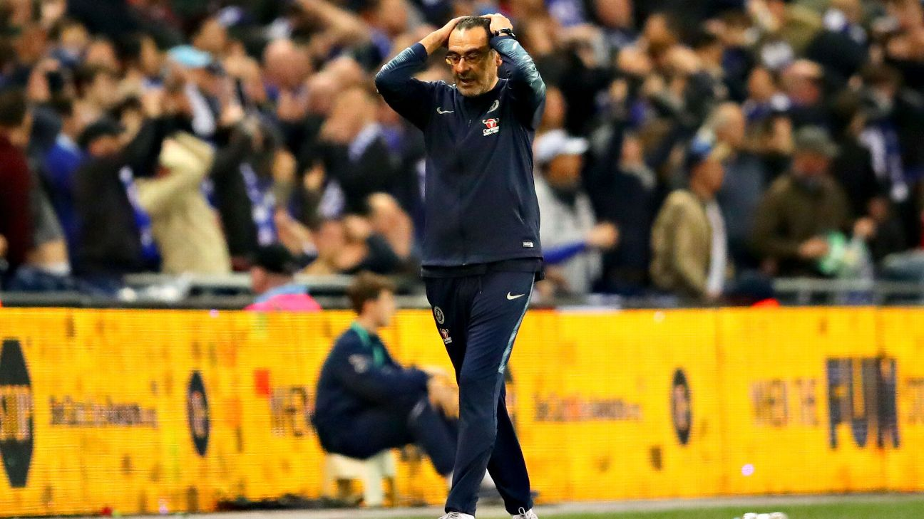 Chelsea manager Maurizio Sarri reacts on the touchline during the Carabao Cup final defeat to Manchester City