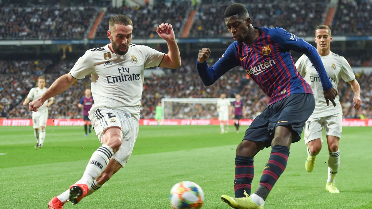 Dani Carvajal was given a rough ride by Ousmane Dembele who exposed him repeatedly up and down the right side.