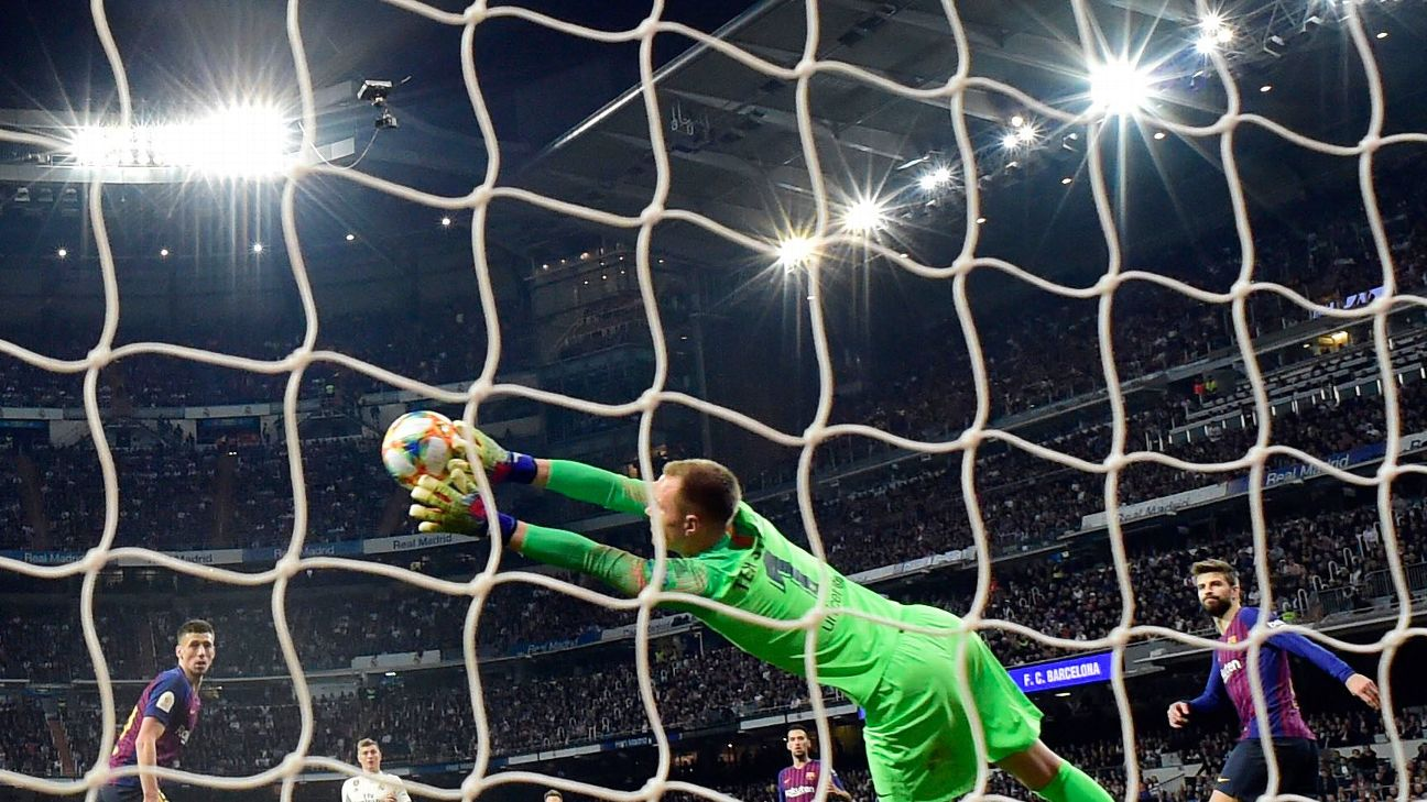 Marc-Andre ter Stegen kept Barcelona level for 50 minutes with some outstanding saves before his teammates broke through for three second-half goals.