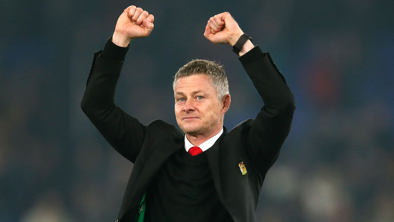 Ole Gunnar Solskjaer celebrates after Manchester United's Premier League win at Crystal Palace.