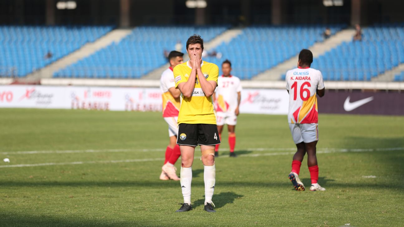 Real Kashmir's Mason Robertson reacts during the defeat against East Bengal.