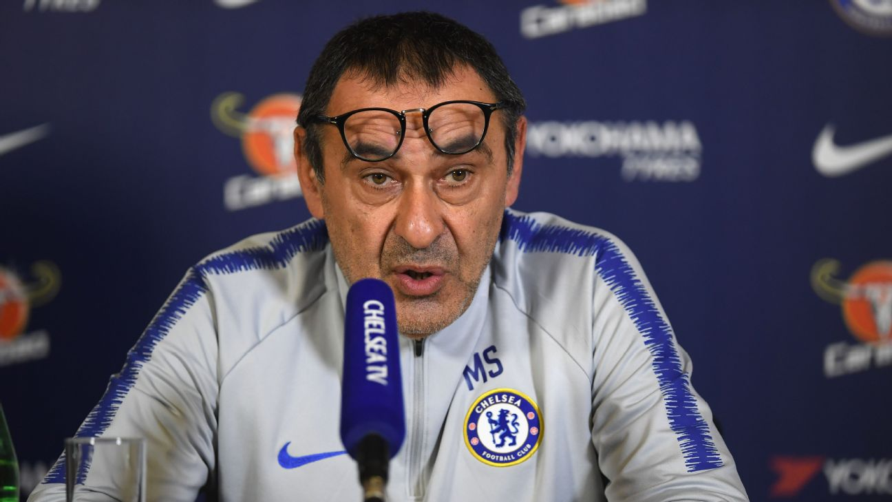 Chelsea boss Maurizio Sarri talks to the media ahead of the West London derby against Fulham