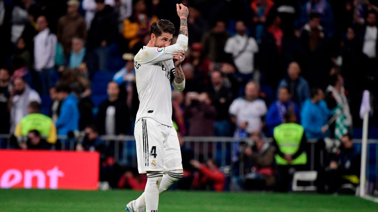 Sergio Ramos reacts after Real Madrid were beaten by Barcelona in their La Liga contest.