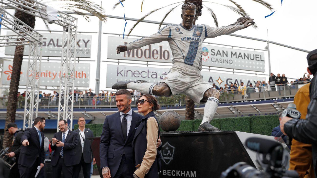 David Beckham statue unveiled by LA Galaxy ahead of MLS season opener