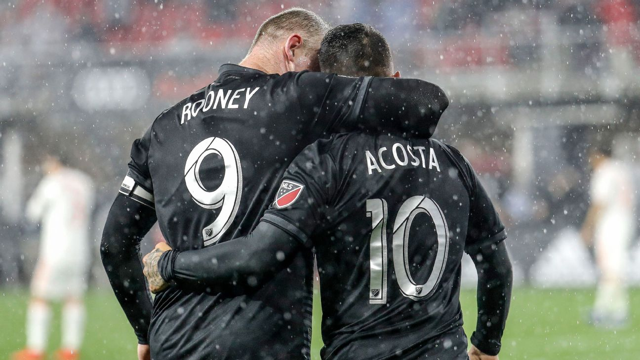 Wayne Rooney and Luciano Acosta celebrate during D.C. United's MLS win over Atlanta United.