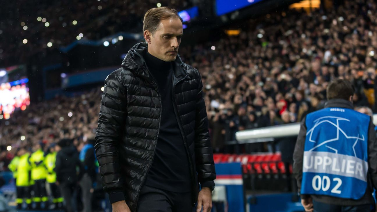 Paris Saint-Germain manager Thomas Tuchel cut a disappointed figure during the 3-1 defeat against Manchester United.
