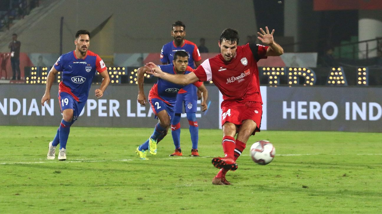 Juan Mascia scores from the spot against Bengaluru.