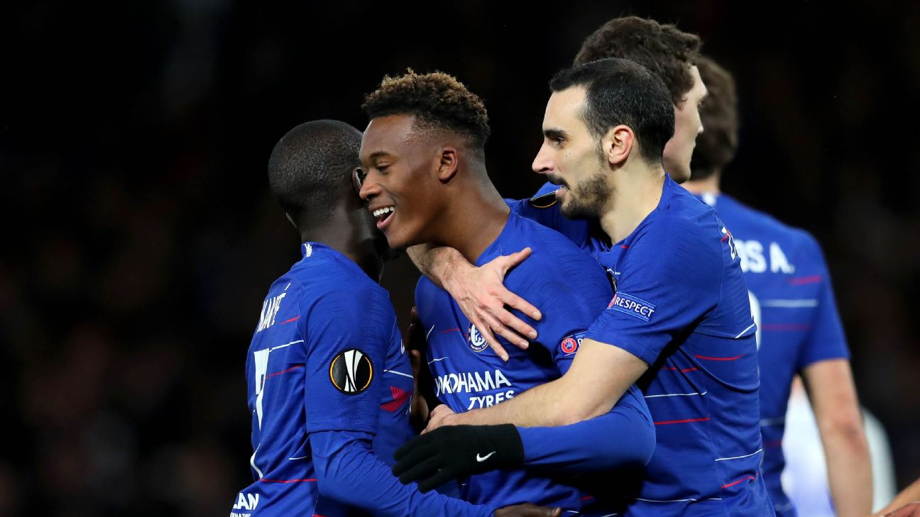 Callum Hudson-Odoi of Chelsea celebrates after scoring against Dynamo Kiev in the Europa League.