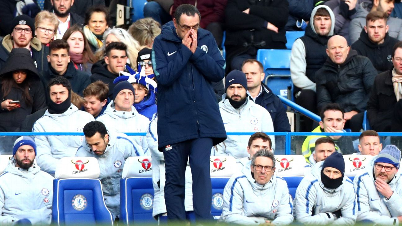 Chelsea Manager Maurizio Sarri reacts on the sidelines during his team's draw with Wolves.