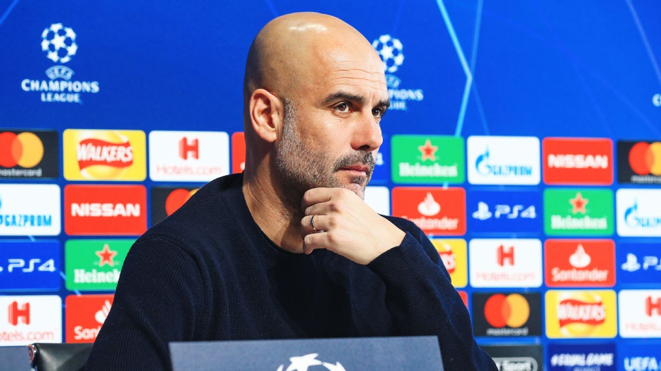 Pep Guardiola speaks to the media ahead of Manchester City's Champions League Round of 16 second leg against Schalke.