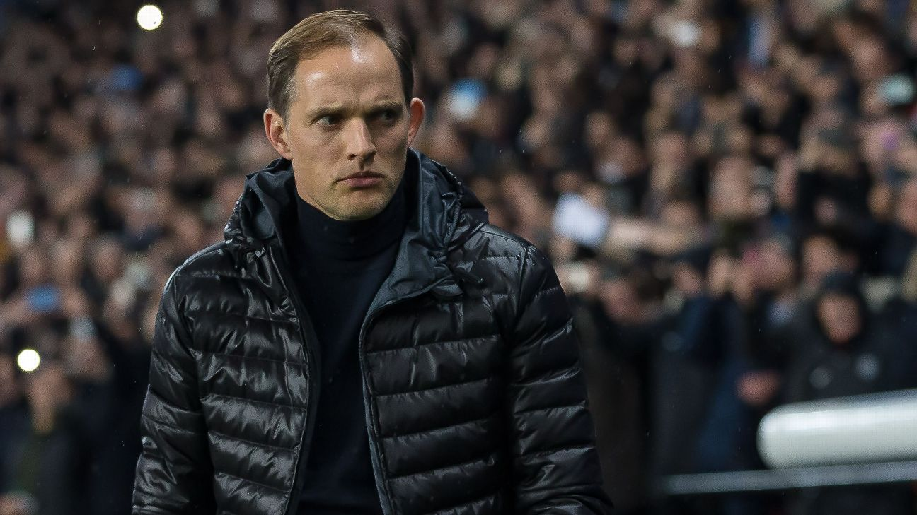PSG boss Thomas Tuchel looks dejected during the 3-1 loss at home to Manchester United