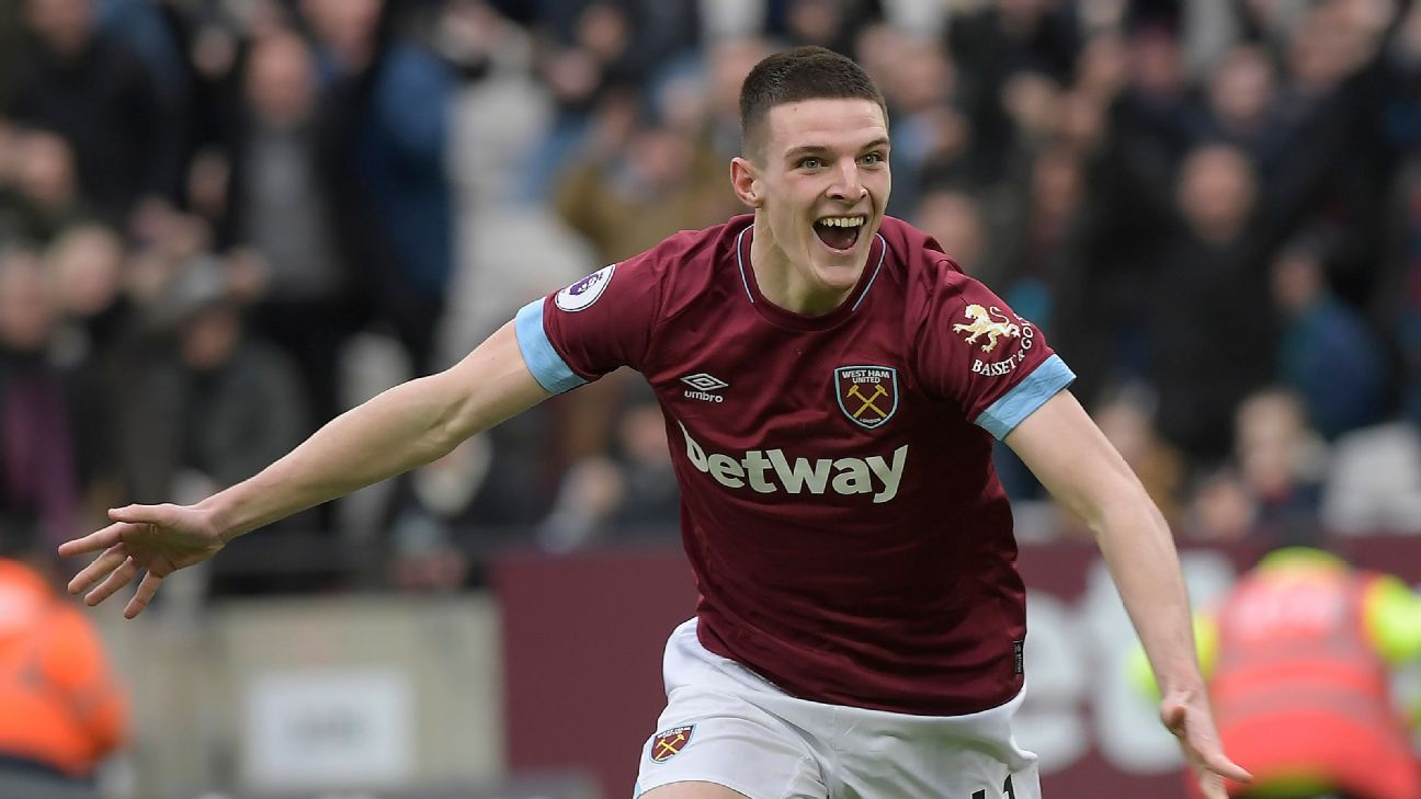 Declan Rice of West Ham has been called up to the England squad for the first time by manager Gareth Southgate.