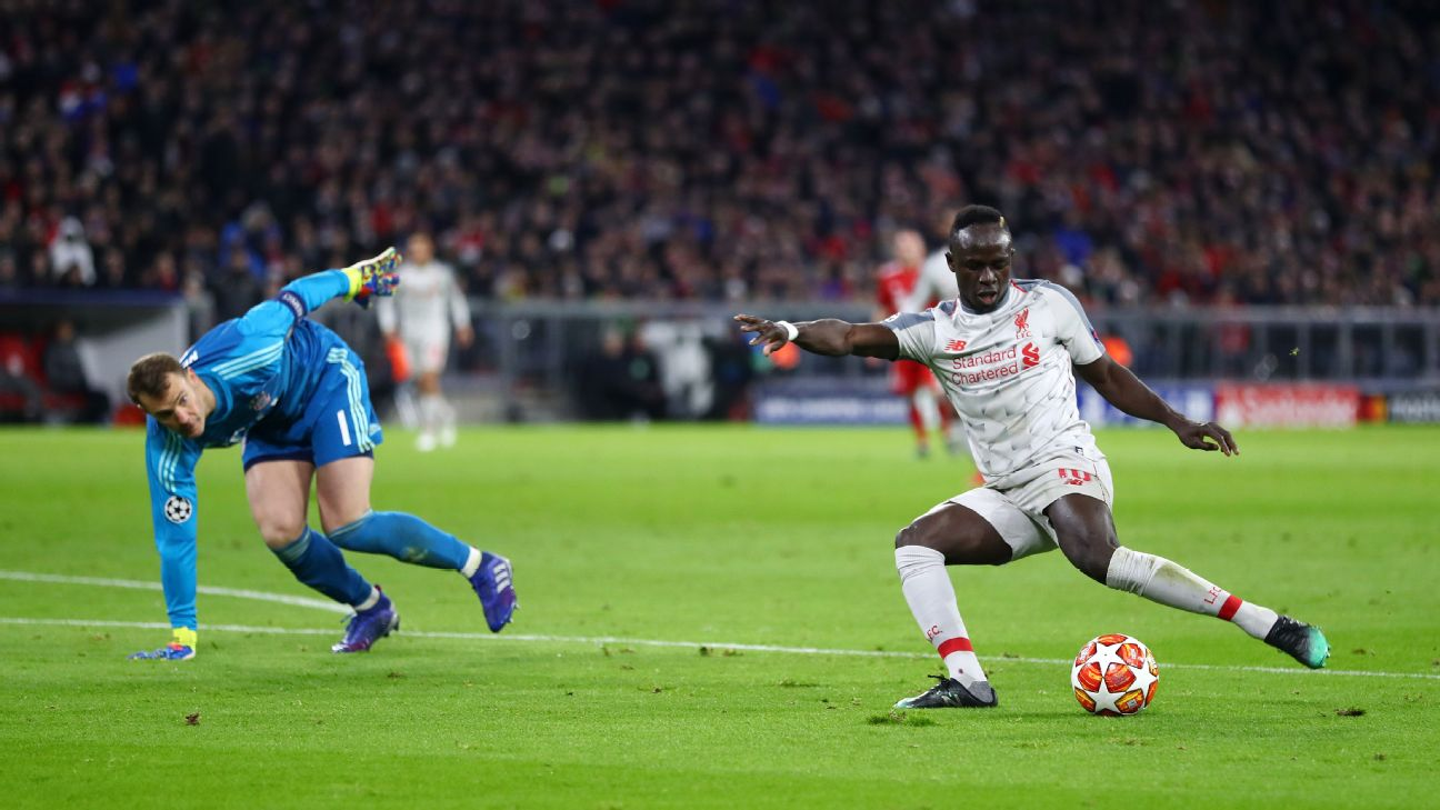 Sadio Mane scores in Liverpool's Champions League match at Bayern Munich.