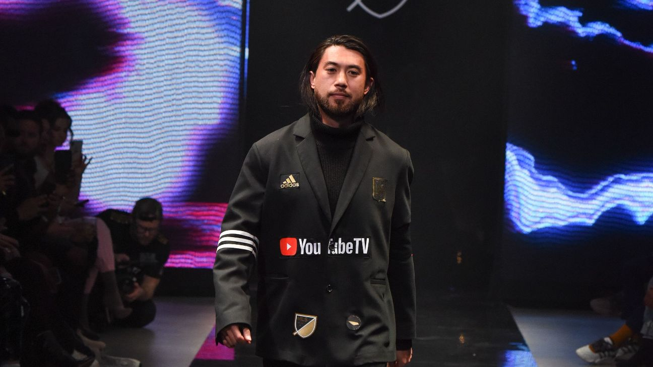 LAFC midfielder Lee Nguyen shows off a fresh take on the team's kit at SEAMS.