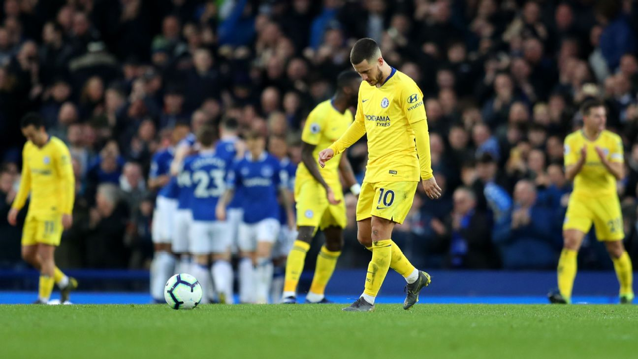 Eden Hazard of Chelsea reacts after Everton score their second goal