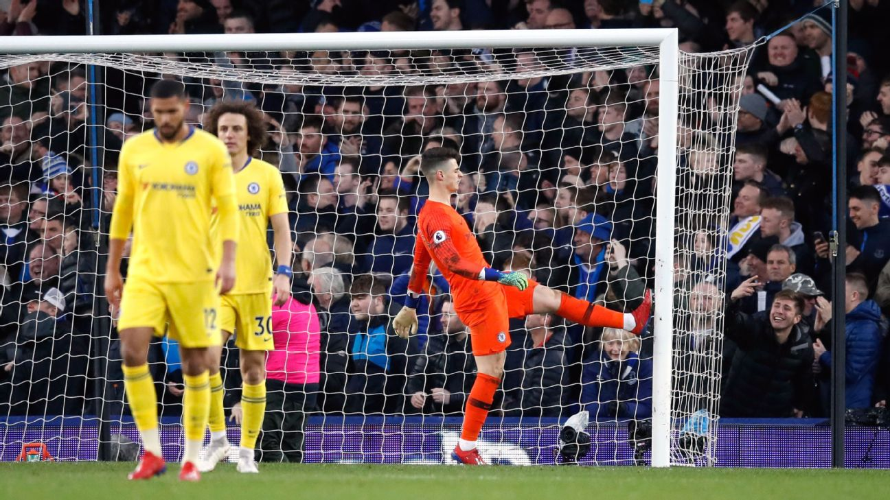 Chelsea goalkeeper Kepa Arrizabalaga kicks the post in frustration
