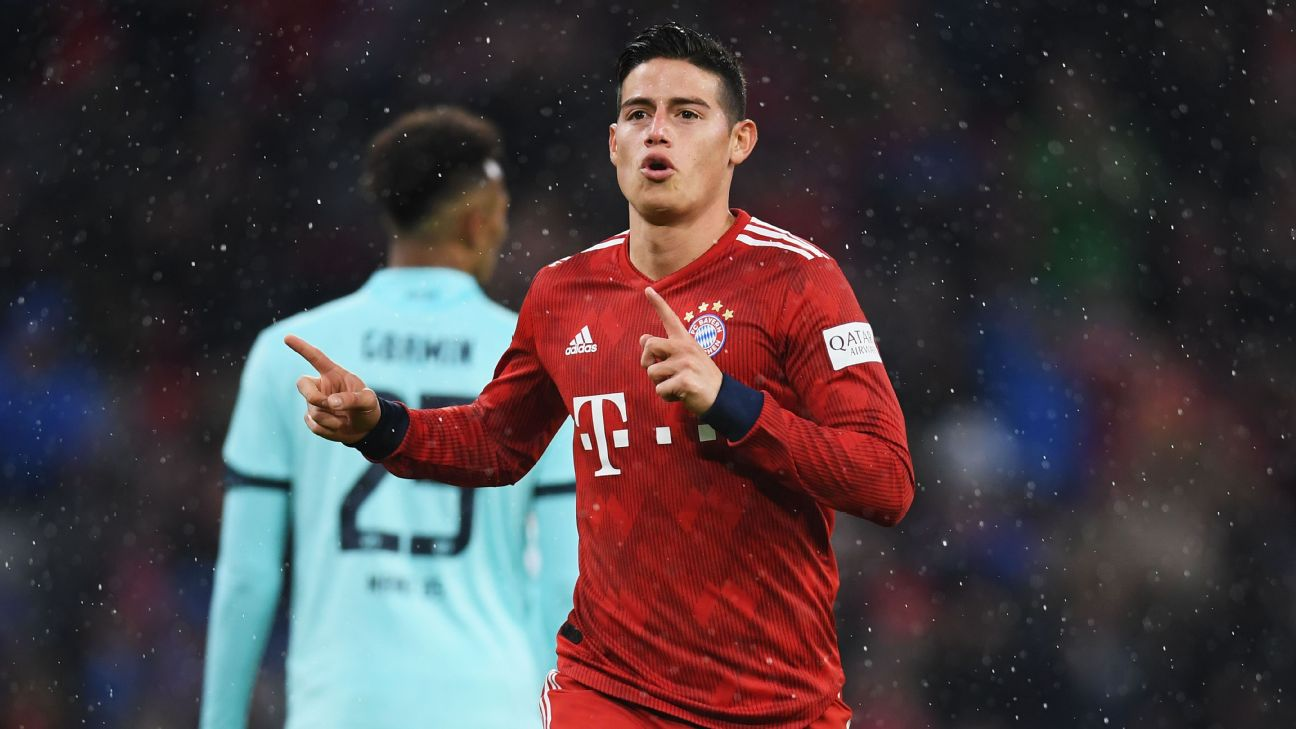 James Rodriguez of Bayern Munich celebrates scoring his team's fourth goal