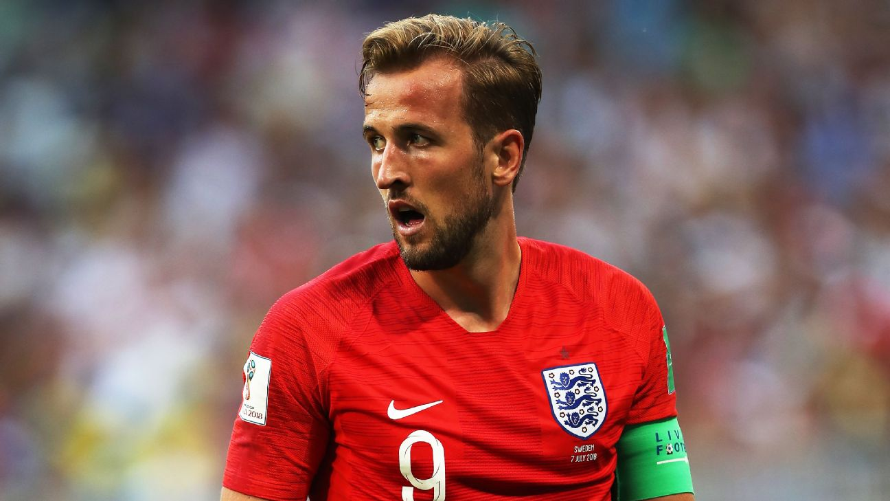England captain Harry Kane in action against Sweden at the 2018 World Cup.