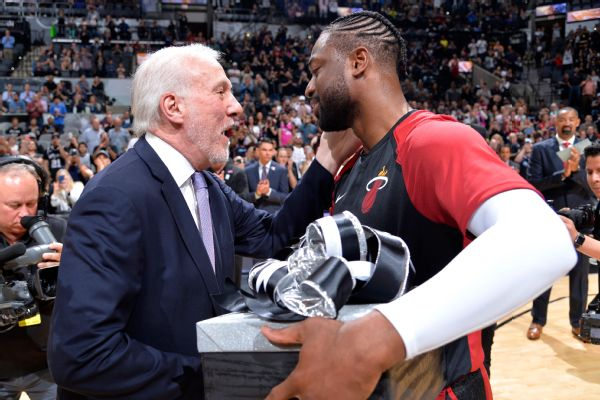 Spurs gift retiring Wade jerseys of franchise icons