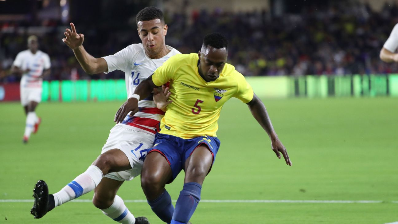Tyler Adams defends against Renato Ibarra in the U.S.'s friendly win over Ecuador.