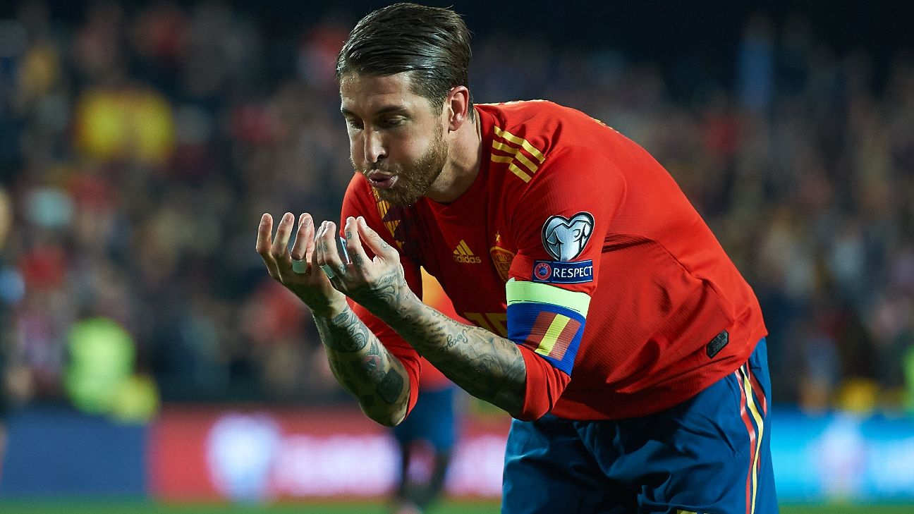 Sergio Ramos celeb Spain vs. Norway