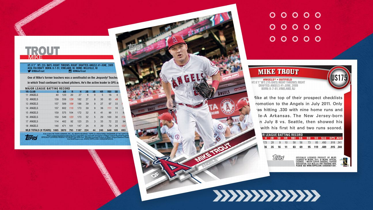 What The Backs Of Mike Trouts Baseball Cards Tell Us Abc7com