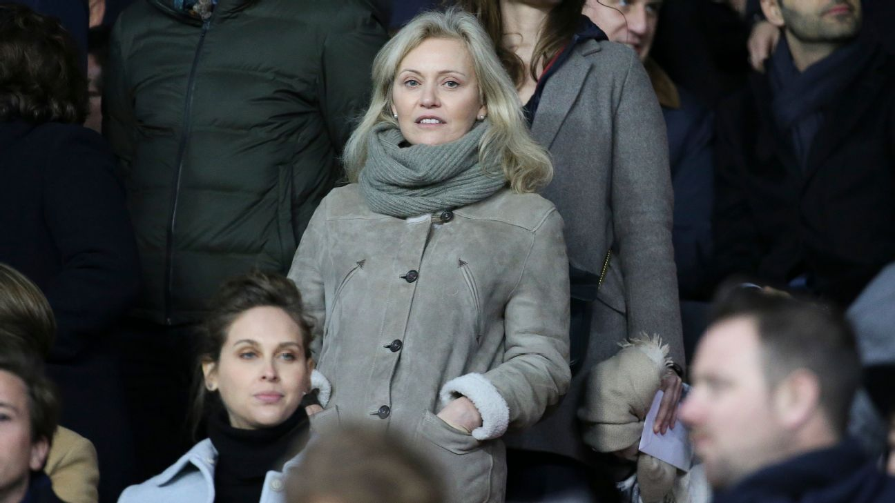 LFP president Nathalie Boy de la Tour attends Paris Saint-Germain vs. Marseille in Ligue 1