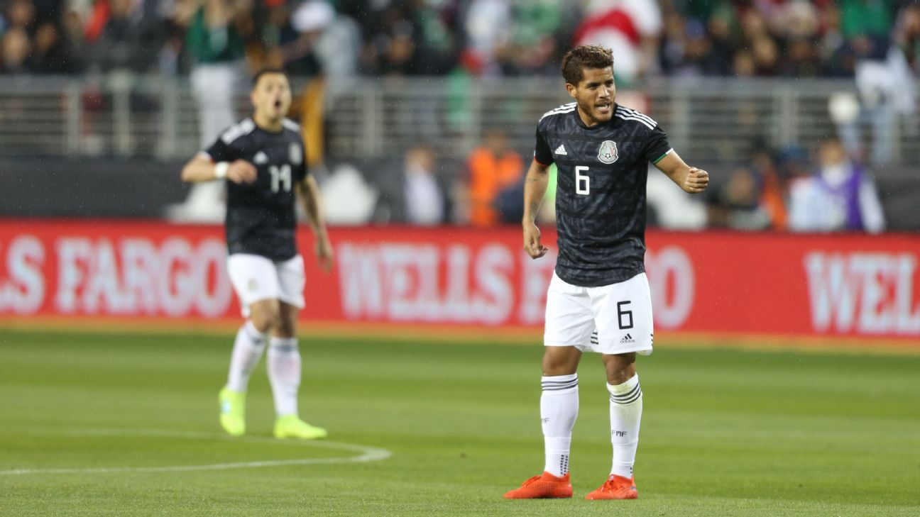 Jonathan Dos Santos of Mexico celebrates after scoring the first goal of the game against Paraguay.