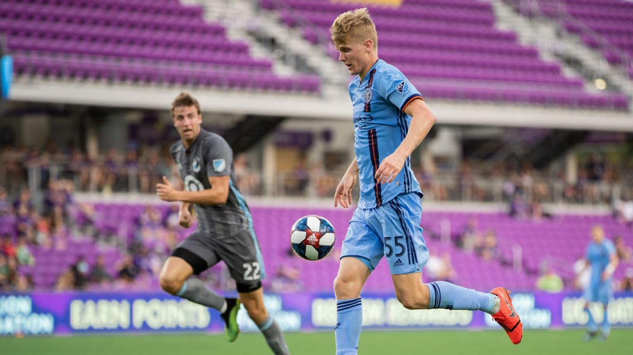 Keaton Parks controls the ball during New York City FC's preseason friendly against Minnesota United.
