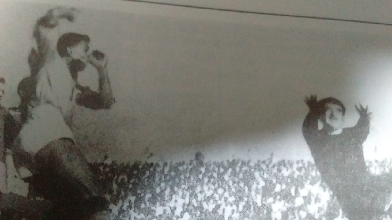 PK Banerjee scores for IFA against Tatabanya club of Hungary in 1964.