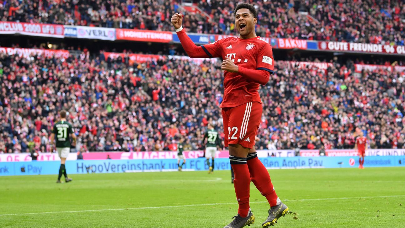 Serge Gnabry celebrates after scoring in Bayern Munich's Bundesliga win over Wolfsburg.