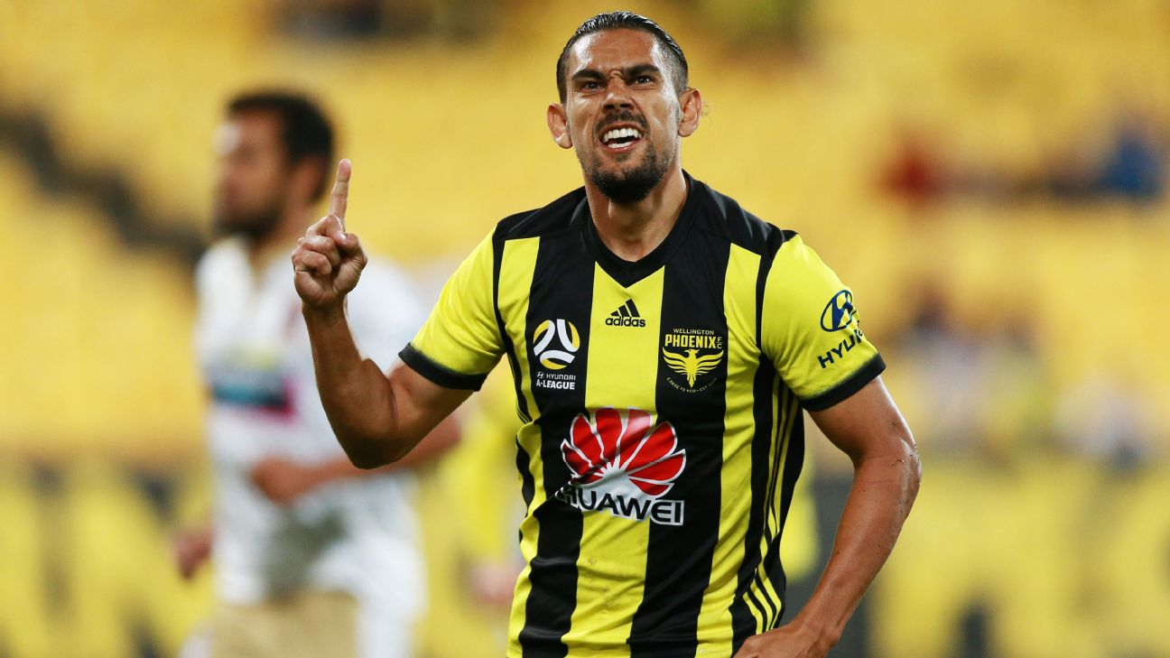 David Williams celebrates after scoring a goal during Wellington Phoenix's A League win against Newcastle Jets.